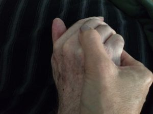 holding hands with dad